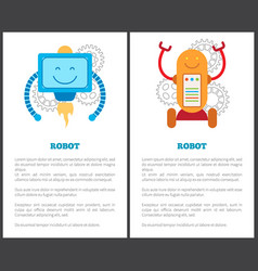 robots with turbine and on wheels promo posters vector image