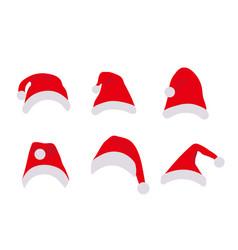 Santa claus hats set flat cartoon style christmas vector