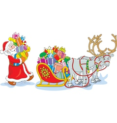 Santa loads his sledge with gifts vector image
