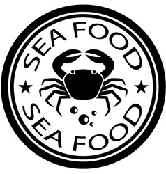 Sea food crab stamp vector