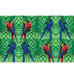 Seamless pattern with macaw parrots sitting on vector