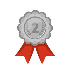 Second place silver medal with red ribbon vector