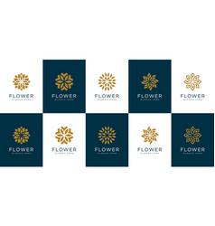 Set flower logo design template vector