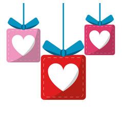 set gift box heart love present vector image