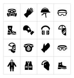 Set icons of personal protective equipment vector
