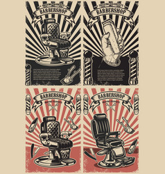 Set of barber shop poster templates design vector
