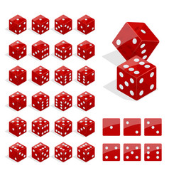 Set of isometric dice combination red poker cubes vector