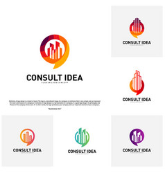 set of modern building consulting agency logo vector image