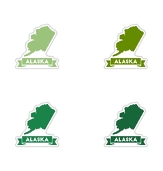 Set of paper stickers on white background Alaska vector image vector image