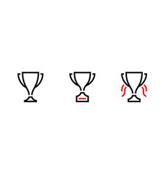 set trophy cup award icons editable stroke vector image