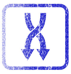 Shuffle arrows down framed textured icon vector