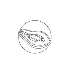 single one line drawing half sliced healthy vector image