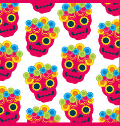 skull flowers the day of the death mexican vector image