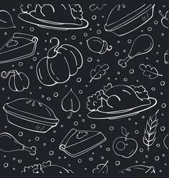 Thanksgiving seamless pattern on chalkboard vector