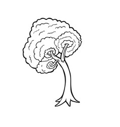 Tree line art cartoon isolated on white background vector