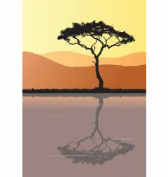 Tree silhouette and water vector