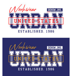 Typography design urban denim t-shirt print vector