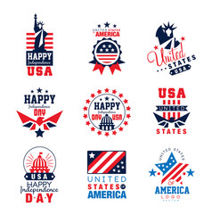 United states of america logo templates set happy vector