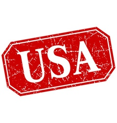 Usa red square grunge retro style sign vector