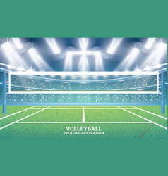 Volleyball court with spotlights vector