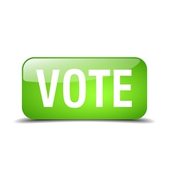 vote green square 3d realistic isolated web button vector image