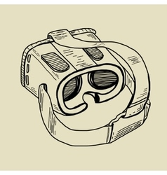 VR glasses for mobile phones hand drawing sketch vector image