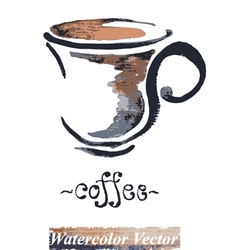 Watercolor painted a cup of coffee vector