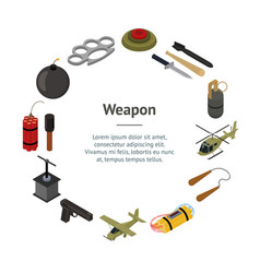 weapons 3d banner card circle isometric view vector image