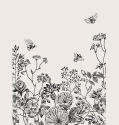wild flowers blossom branch background vintage vector image