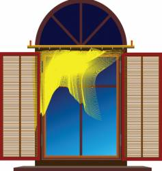 window with shutters vector image