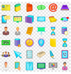 workshop icons set cartoon style vector image