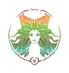 Zodiac sign portrait of a woman taurus vector