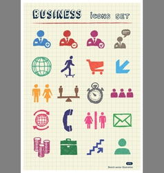 Business web icons set drawn by color pencils vector image vector image