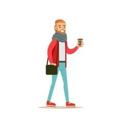 Hipster Guy With A Beard Holding A Paper To Go vector image