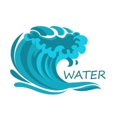Ocean wave symbol with foam and splashes vector image