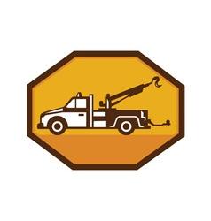 vintage tow wrecker truck side view retro vector image vector image