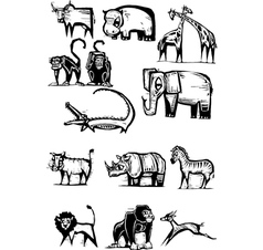 African animal group 2 vector