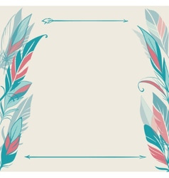 background with hand drawn feathers vector image vector image
