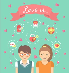 Dating Conceptual with Love Icons vector image vector image