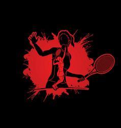 Double exposure tennis player sport woman action vector