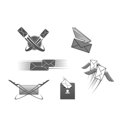 Mail post letter envelope postal icon vector image vector image