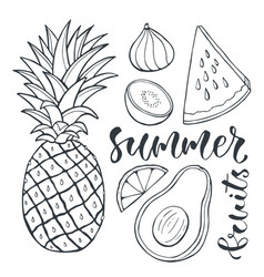 Pineapple and sliced fruits food for print design vector