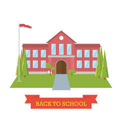 back to school concept school yard with trees and vector image vector image