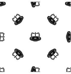 Children merry go round pattern seamless black vector