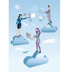 Cloud Computing Men And Woman vector image