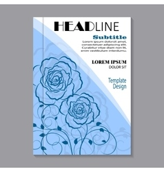 Floral brochure cover design vector image