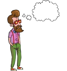 hipster thinking vector image vector image