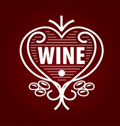 Loop logo barrel of wine in the form of heart vector