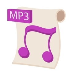MP3 audio file extension icon cartoon style vector image vector image