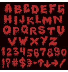 Red font smudges alphabet splashing vector image